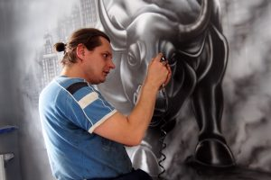 pyrkon, fantasium creatium, ariel kula, mural, malowanie, byk