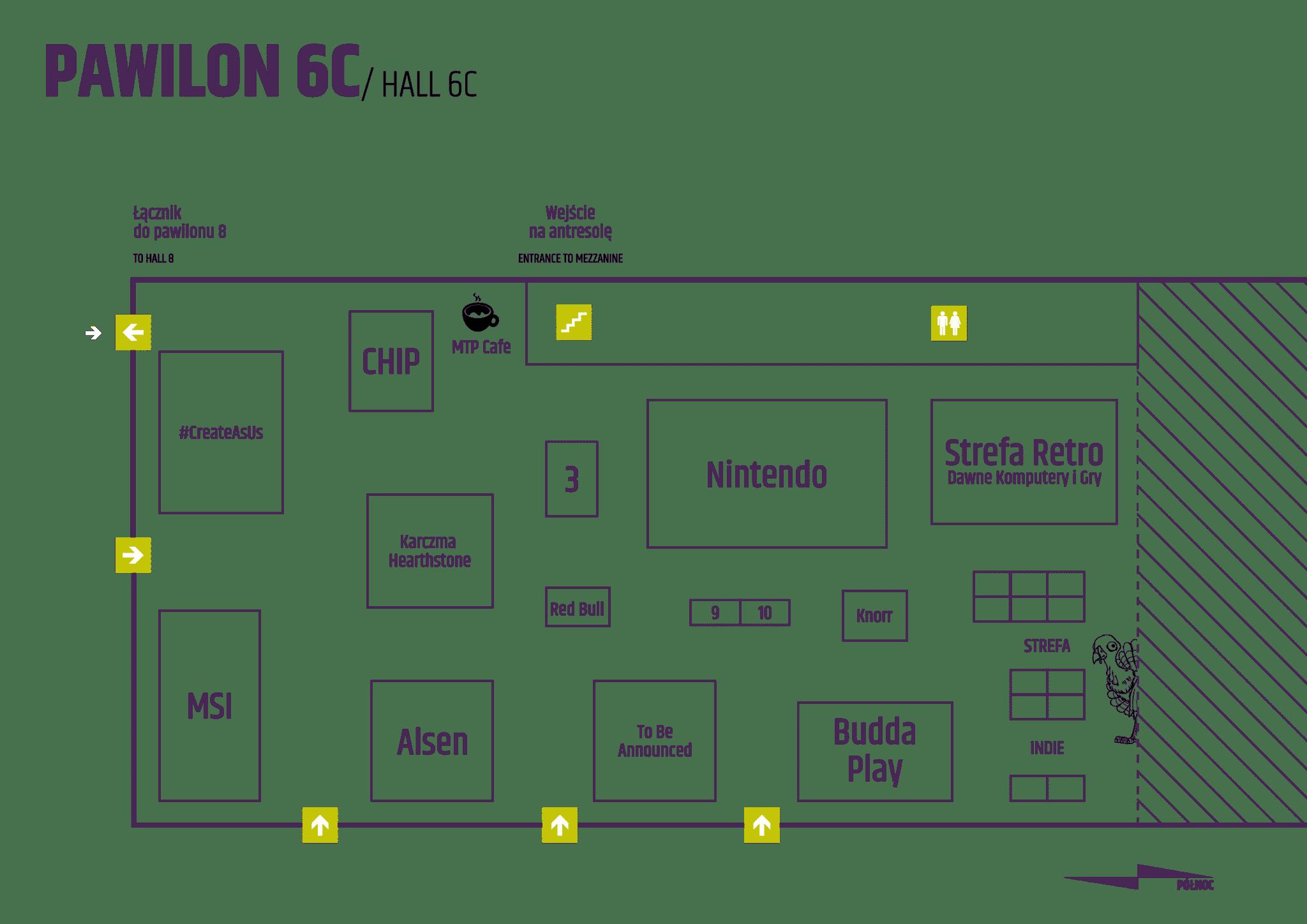 Lista Wystawców: Mapa Bloku Gier Elektronicznych - Pawilon 6C Pyrkon 2018
