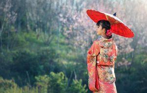 kimono, japonka, parasol, pejzaż