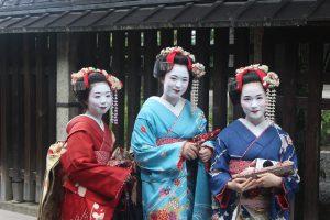 gejsza, kimono, makijaż